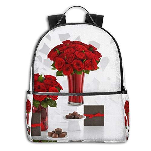 Reizen Laptop Rugzak Daypacks, College School Computer Bag Boekentas voor Vrouwen & Mannen Outdoor Camping Rode Rozen Boeketten en Chocolade