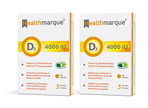 Vitamin D3 Tablets 4000iu 6 Month Supply - Pharmacopoeia Grade Premium D Supplements by Healthmarque UK; 100mcg 180 Tablets not Capsules | Bone, Muscle & Immune Support
