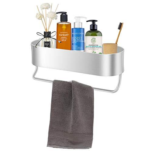 Fittoway Estante de ducha, cesta de ducha, montaje en pared, con toallero, de aluminio, inoxidable, para cuarto de baño, cocina, plateado (plateado)
