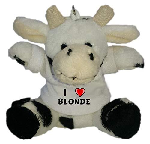 SHOPZEUS Plüsch Kuh Schlüsselhalter mit T-Shirt mit Aufschrift Ich Liebe Blonde (Vorname/Zuname/Spitzname)
