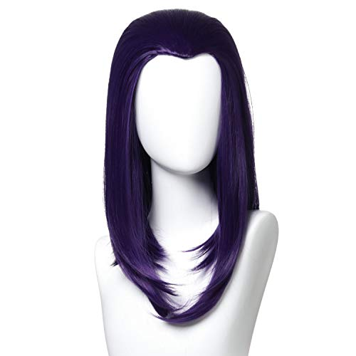 Qaccf 14 inches Shoulder Length Bob Halloween Cosplay Women Wig with Widows Peak (Purple)