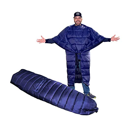 onewind Large Topquilt Wearable Blanket Adventure Poncho-Ultralight for Camping, Backpacking, Throu-Hiking,Blue
