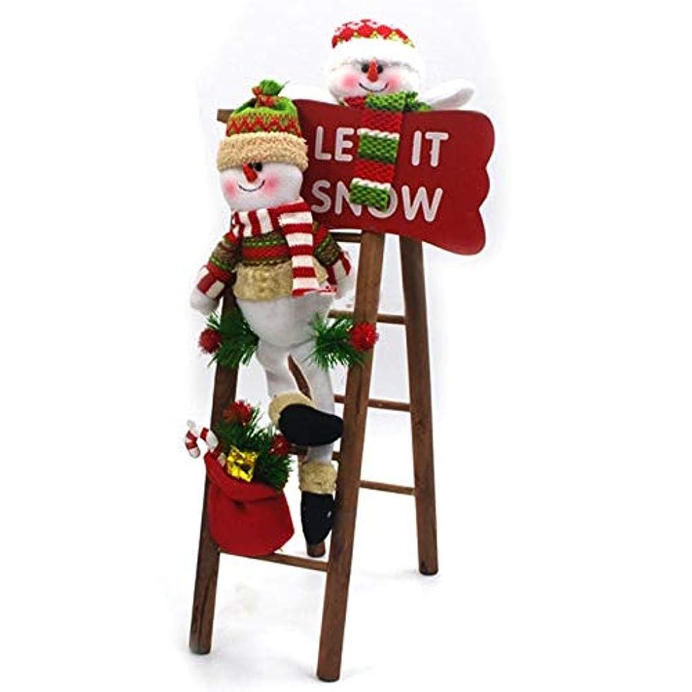 子岸人形YWHクリスマス用品 手作りのクリスマスデコレーション布アートのぬいぐるみサンタの雪だるまラダーシーンの窓の装飾、サイズ:50 x 14cm For Christmas