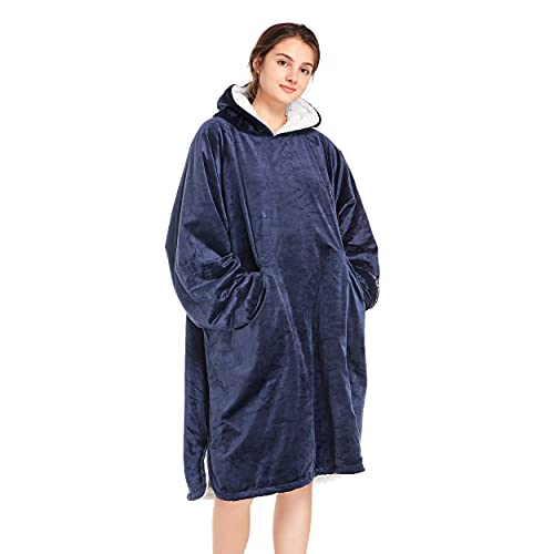 Winthome Übergroße Hoodie Decke, Sherpa Sweatshirt Decke, Kuschelpullover Für Damen Herren Erwachsene (Blau, One Size)