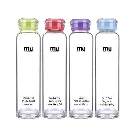 MIU COLOR® Trinkflasche BPA-Frei 460ml, Wasserflasche Glas, Glasflasche und Trinkflasche der Schule für Smoothie und Obstsaft oder zu Hause geeignet. (Blassgrün)