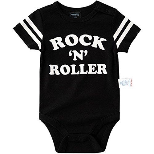 Minizone Bebé Body Manga Corta Mameluco Niños Niñas Monos Algodón Pijama Peleles Negro Rock N...