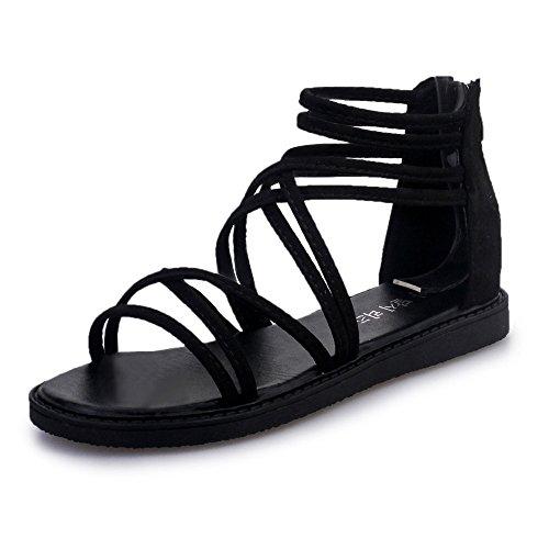 Sandales Plates Femme,Honestyi Escarpins Talon Plat Chaussures Bohême Chic Sandales à Bandage Tongs Ete Plage Chaussures Facile à Assortir Shoes