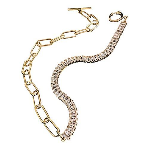 LKHJ Collane di Girocollo di Cristallo zircone per Le Donne collane Geometriche Strass collane Regali di Gioielli di spiegazione