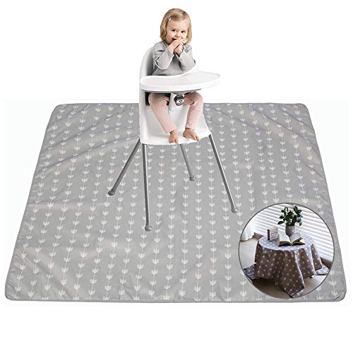 """51"""" Splat Mat, Washable&Waterproof, Reusable, Anti-Slip, Portable Floor Splash Mat for Under High Chairs, Arts, Crafts, Multiple Uses, Play Mat and Table Cloth"""