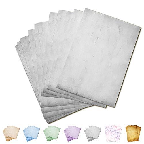 Partycards 50 Blatt Briefpapier doppelseitig Bedruckt, geeignet für alle Drucker (Hellgrau, Format DIN A4 (21 cm x 29,7 cm), Grammatur 90 g/m²)