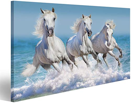 Refosian Cuadro moderno Reba?o de caballos Correr al galope en las olas del mar Impresión en lienzo - Cuadros modernos para sillones Sala de estar Muebles de cocina Oficina Hogar!