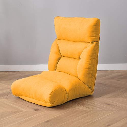 Sillón de suelo ajustable con 6 posiciones, acolchado y plegable, con esponja de alta resistencia, algodón transpirable y tela de lino, sofá reclinable con funda extraíble, color amarillo