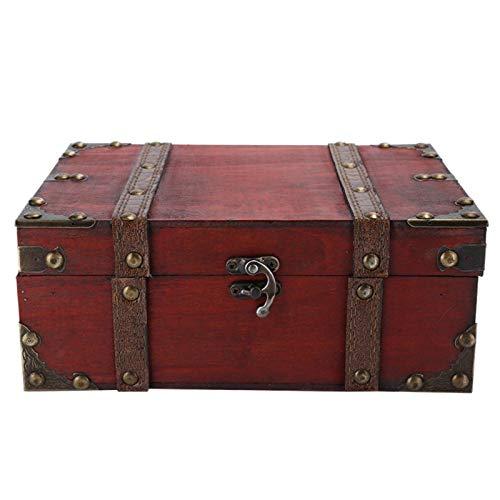 Caja del tesoro, caja de almacenamiento de madera de la vendimia Cofre decorativo de la joyería del tesoro con la decoración del hogar de la cerradura(02 sin candado)