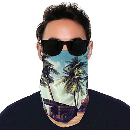 Face Mask Bandana with Ear Loops Cannon Barrels on Tropical Beach Scarf Neck Gaiters Balaclava Dustproof UV Protection Headwear