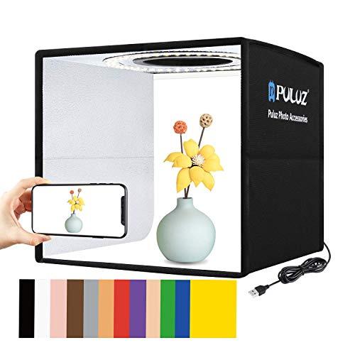 Foldable Photo Box Portable Studio Kit 12 Background Colors LED Dimmable Photography Light Box 25 cm...