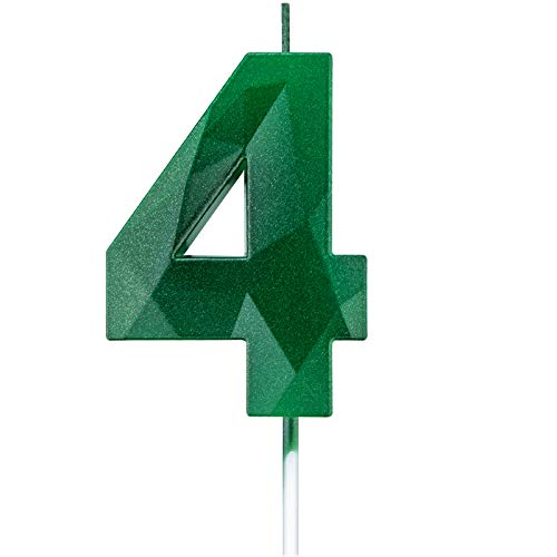 Willcan 2.75in 3D Diamond Shape Tall Green 4 Candles, Glitter 4 Green Color Happy Birthday Cake Toppers Decorating and Celebrating for Adults/Kids Party/Family Baking (2.75in Green Number 4)