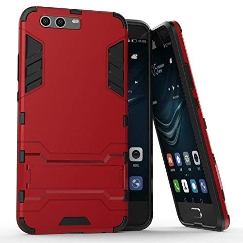 Cover Huawei P10 Plus, Custodia Huawei P10 Plus, MHHQ 2 in 1 nuovo Armour stile resistente Hybrid Dual Layer Armatura Defender PC + TPU con supporto [Custodia antiurto] per Huawei P10 Plus -Red