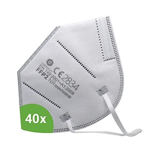 Kemes FFP2 Maske CE-Zertifiziert 40 Stück inkl. Maskenhalter Atemschutzmaske Partikelfiltermaske - Versand aus Deutschland