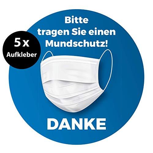 5 Stück Aufkleber Bitte Mundschutz tragen | 13 x 13 cm | Mundschutz Aufkleber (Blau)