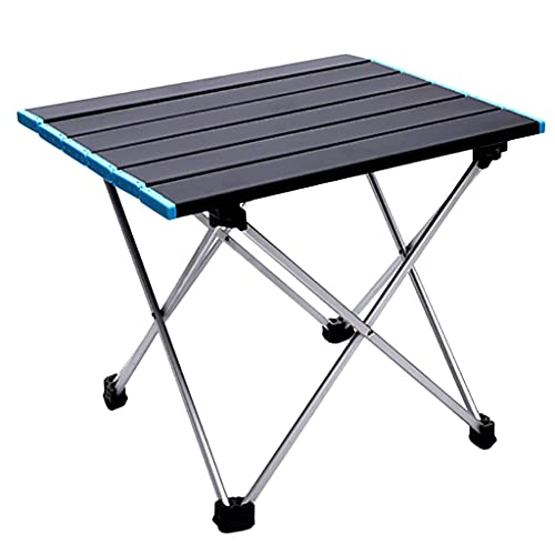 Beiyasi Mesa Plegable para Acampar de Picnic portátil para Exteriores Mesa Enrollable de Aluminio con Bolsa de Transporte fácil Escritorio para Acampar para Acampar al Aire Libre en Interiores Azul