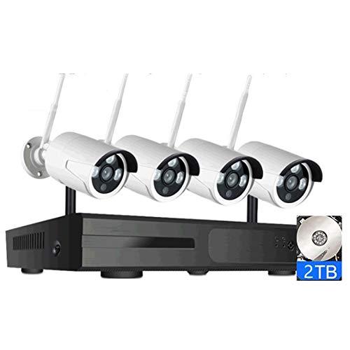 4CH Sistema de cámara de Seguridad HD 5MP inalámbrico, Kit de 4 cámaras de vigilancia Integrado en Audio, con visión Nocturna, detección de Movimiento, Impermeable IP66, con Disco Duro 2T