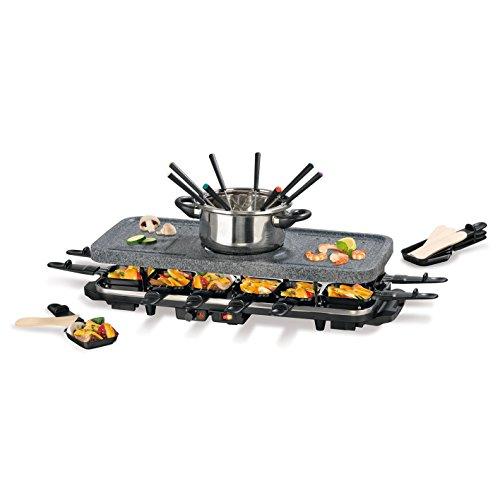 GOURMETmaxx Raclette Grill für 2 bis 12 Personen | Tischgrill Elektrisch mit Fondue Topf, Raclette Elektrogrill mit umfangreichem Zubehör | 1600 Watt [Granit]