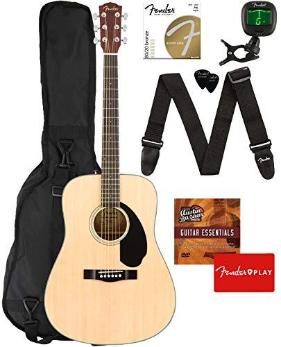 Fender CD-60S Dreadnought Acoustic Guitar - Natural Bundle with Gig Bag, Tuner, Strap, Strings, Picks, Fender Play Online Lessons, and Austin Bazaar Instructional DVD
