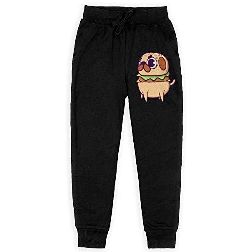 U are Friends Pug Burger Child Teenager Sweatpants Jogger Trousers(Small,Black)