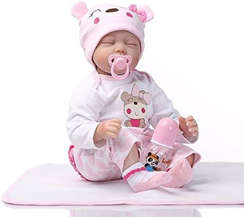 Lightleopard Schlafende Puppe Weißhes Silikon-Denim-Kleid wiedergeborenes Baby - Puppe-frühes Ausbildungs-Spiel
