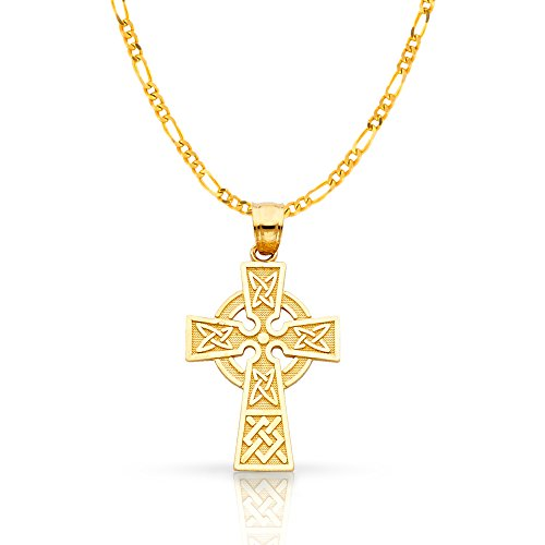 14K Yellow Gold Celtic Cross Pendant with 1.9mm Figaro 3+1 Chain Chain Necklace - 18'