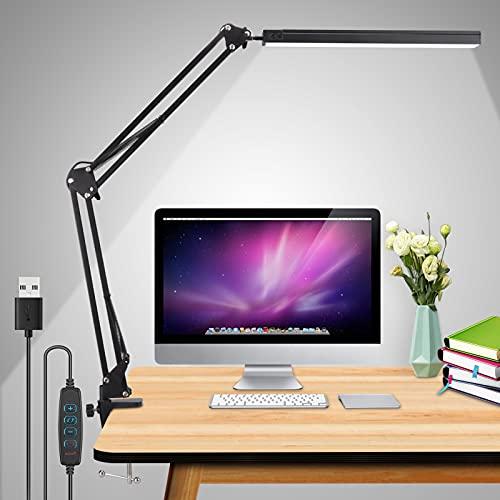 Schreibtischlampe LED,15W Dimmbar Klemmbar Tischlampe Bürolampe,Verstellbarem Arm Faltbar,3 Beleuchtungsmodi mit 10 Helligkeitsstufen,USB-Kabel mit Stecker,Geeignet für Büro, Lesen,Studieren