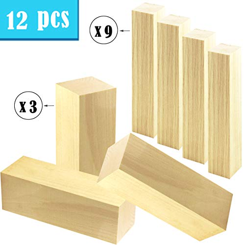"""UPlama 12PCS Basswood Carving Blocks Soft Solid Wooden,3PCS 6""""x2""""x2"""", 9PCS 6""""x1""""x1"""" Wood Whittling Wood Kit for Kids or Adults, Beginner to Expert. Unfinished Kiln Dried Whittling Blocks"""