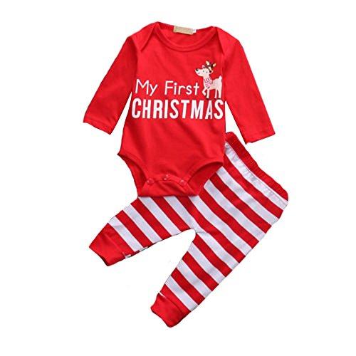 Pagliaccetto Bambino Appena Nato Natale 2pcs Abbigliamento set Vestito del bambino Top + Pantaloni Insieme di vestiti Rosso