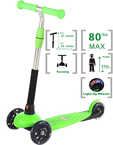Voyage Sports Toddler Kick Scooter for Kids Boys and Girls, Adjustable Height, 3...