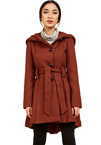 Sportoli Womens Single Breasted Wool Blend Belted Winter Dress Drama Coat with Hood - Paprika (Size Medium)