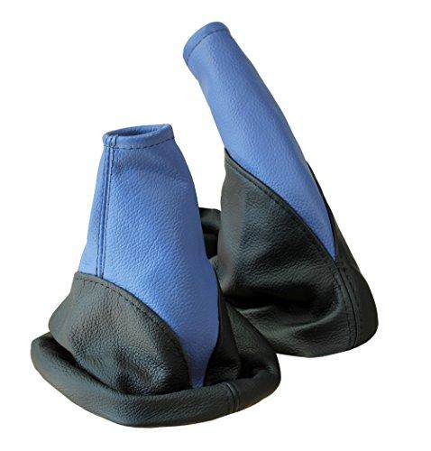 L&P A106-5 Kit Soufflet Sac Manchette manchon de commutation 100% cuir véritable veritable bleu noir noire couture fil bleu bleue et frein à a main stationnement parking transmission manuelle boîte boite vitesse vitesses changement vitesse noir- bleu