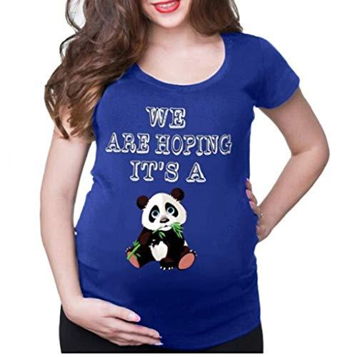 Camiseta de Las Mujeres Embarazadas Fotografia SHOBDW Blusa De Manga Corta Cuello Redondo Vestido De Maternidad Embarazada Panda De Dibujos Animados Imprimir Tops Talla Grande S-XXXL(Azul,M)