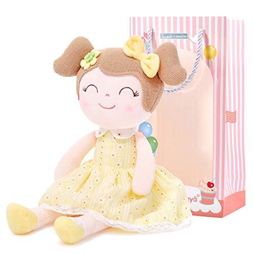 Gloveleya Puppen Babypuppen Weiche Stoffpuppe Puppe Geschenke für mädchen Alter 0+ Gelb