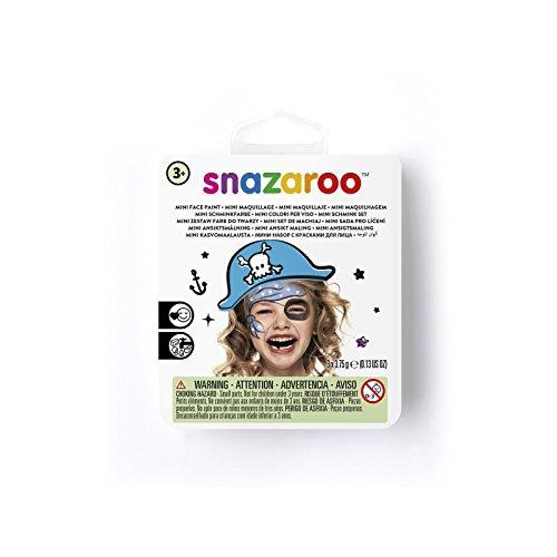 Snazaroo 1172080 Kinderschminke Mini Set Blauer Pirat, 3 Schminkfarben, Farben: Weiß, Blau, Schwarz, 1 Pinsel, 1 Schwämmchen
