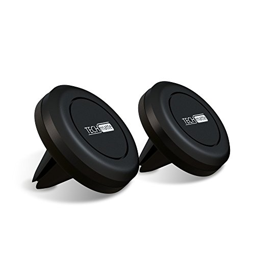 TechMatte Magnetic Car Phone Mount-Universal Air Vent Magnetic Mount Phone Holder-Compatible with Cell Phones and Mini Tablets (2-Pack, Black)