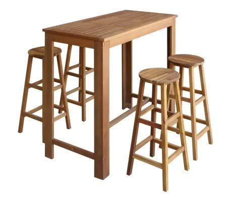 GOTOTOP - Juego de mesa y taburetes de bar de madera maciza de acacia, mesa de cocina con silla, mesa – 120 x 60 x 105 cm, taburete – 34 x 34 x 76 cm, para casa, bar, café