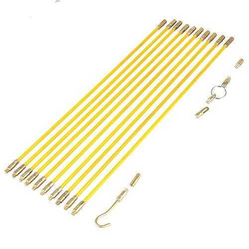 Fiberglas-Laufdraht, 10 Stück gelbe Farbe 4 mm Fiberglas-Laufdrahtkabel Elektrisches Fischband-Pull & Push-Kit