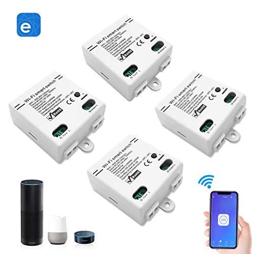 Smart WLAN Schalter Wireless Relais Modul WiFi Switch und Fernbedienung Intelligentes System Sprachsteuerung mit Amazon Alexa Google Assistant IFTTT, DIY Smart Home für elektrische Haushaltsgeräte