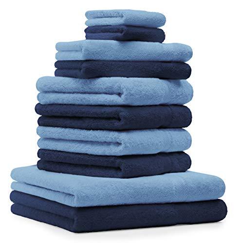 Betz Juego de 10 Toallas Premium 100% algodón en Azul Marino y Azul Claro
