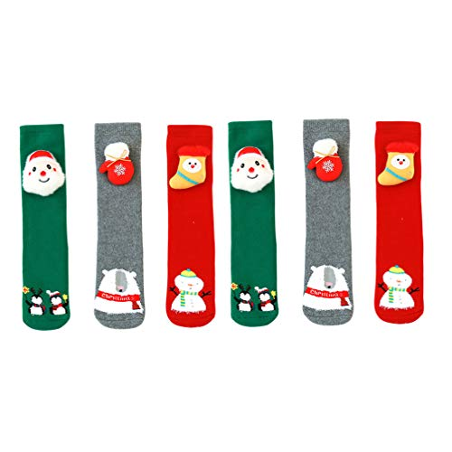 Happyyami 3 Pares de Medias de Navidad para Niños Calcetines Cálidos de Tubo Medio de Invierno Muñeco de Nieve de Navidad Calcetines de Pingüino de Oso de Santa para 1 a 8 Años 30X7cm