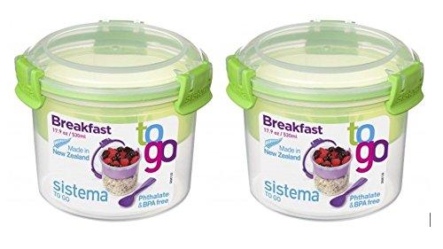 Sistema Müsli to Go Set, Aufbewahrungsbehälter für Lebensmittel mit Unterteilung, 2x530 ml, grün