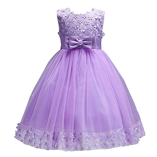 Acecharming Baby Girls Dress Flower Bridemaid Girl Lace Wedding Party Ball Gown Dresses 1-10 Years Purple