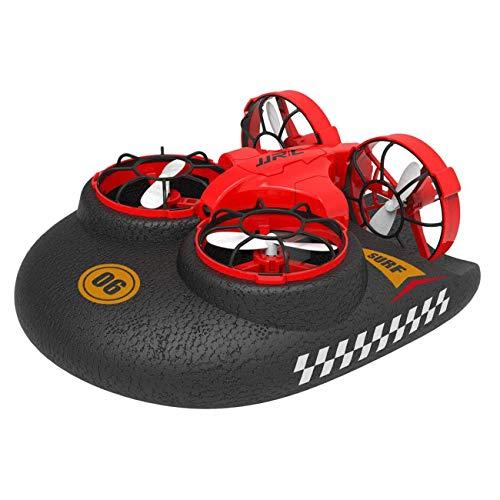 Multifunción Drone Agua, Tierra y Aire Aeroces Sensor aerodeslizador Sensor Quadcopter Toys One Key Flight Induction Induction Flying Toys Regalos para niños niñas al Aire Libre,Rojo