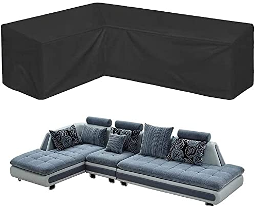 Corner Sofa Cover COOSOO Outdoor Garden Furniture Cover Waterproof Durable 210D Oxford V/L Shaped Sectional Couch Rattan Corner Sofa Table Chair Protection Cover with Storage Bag L Shape R:270cm/106