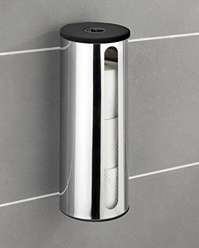 Wenko Turbo-Loc Ersatzrollenhalter Detroit - Wand WC-Ersatzpapierrollenhalter, für 3 Rollen, Befestigen ohne bohren, Edelstahl rostfrei, 13,5 x 36 x 14 cm, glänzend